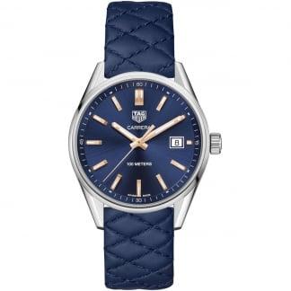 Ladies Carrera 39MM Blue Quilted Leather Quartz Watch WAR1112.FC6391