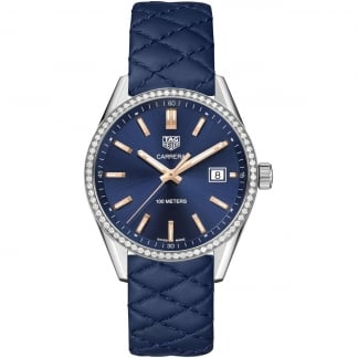 Ladies Carrera 39MM Diamond Set Blue Quilted Strap Watch WAR1114.FC6391