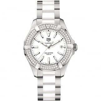 Ladies Diamond Aquaracer Steel/White Ceramic Watch WAY131F.BA0914