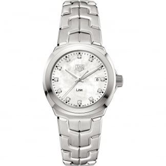 Ladies Diamond Link White MOP Quartz Watch