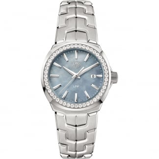 Ladies Link 32MM Blue MOP Diamond Bezel Watch