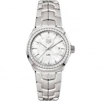 Ladies Link Diamond Bezel White MOP Dial Watch