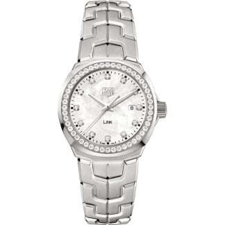Ladies Link Diamond Set Mother of Pearl Quartz Watch