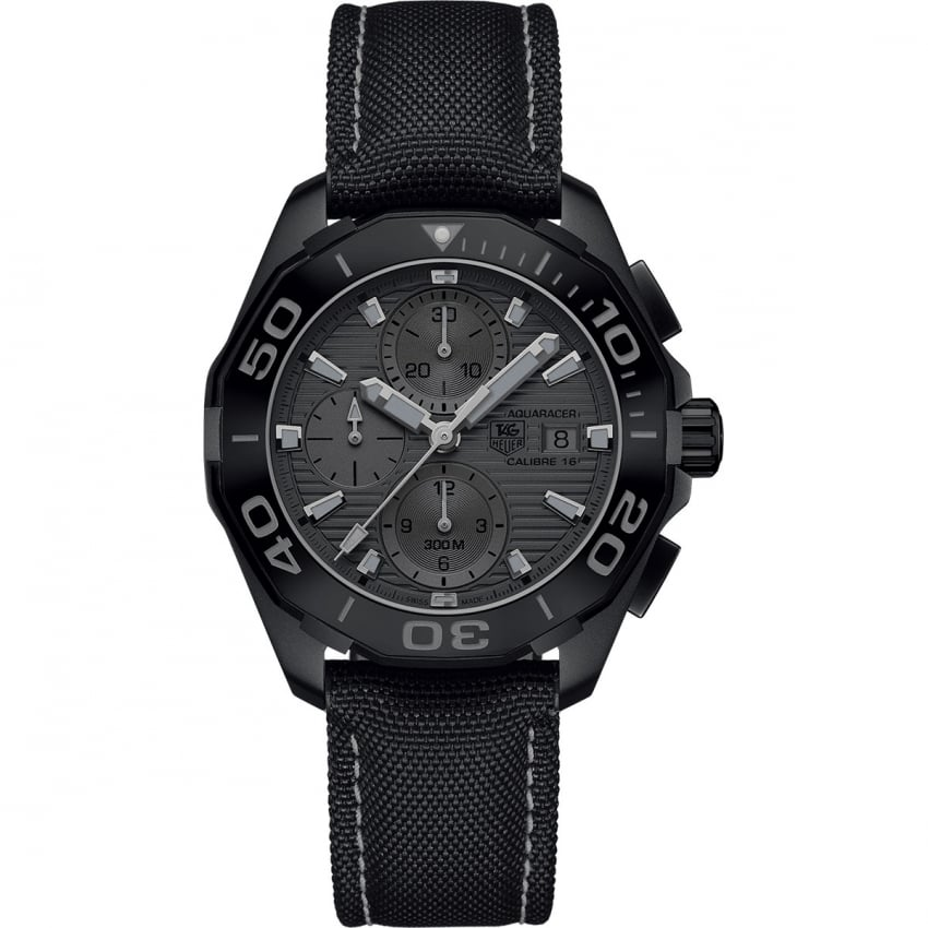 TAG Heuer Men's Aquaracer Automatic Black Titanium Nylon Strap Watch CAY218B.FC6370