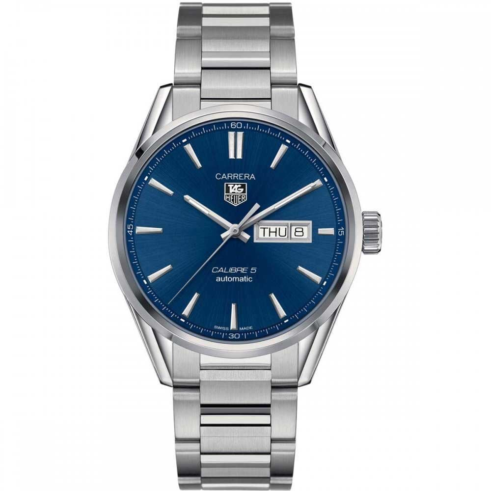 eb7ad35545c TAG Heuer Men s Carrera Calibre 5 Blue Day Date Dial Watch Product Code   WAR201E.BA0723