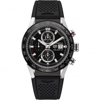 Men's Carrera HEUER 01 Resin Strap Chronograph Watch CAR201Z.FT6046