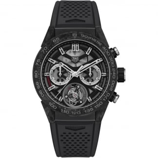 Men's Carrera Heuer-02T Tourbillon Carbon Bezel Watch