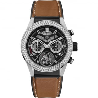 Men's Carrera Heuer-02T Tourbillon Diamond Titanium Watch