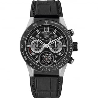 Men's Carrera Heuer-02T Tourbillon Silicone Strap Watch