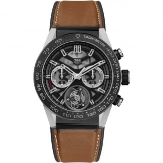 Men's Carrera Heuer-02T Tourbillon Tan Strap Watch
