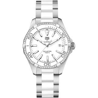 Steel & White Ceramic Diamond Aquaracer Lady 300M Watch
