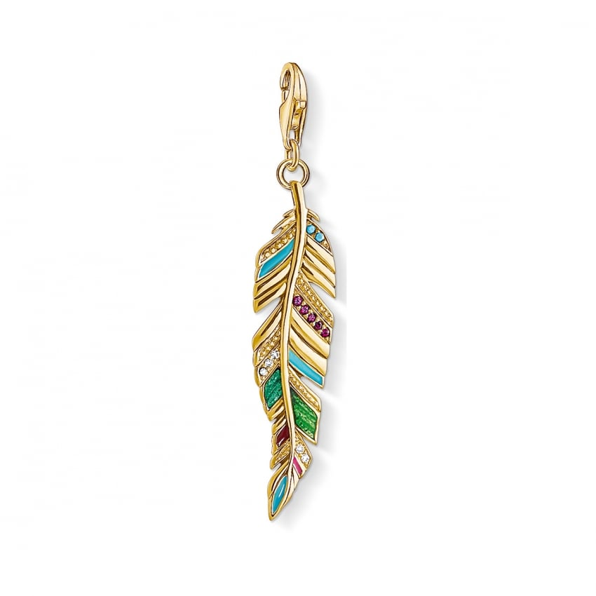 Thomas Sabo 2018 GCC Multicoloured Gold Feather Charm Y0033-471-7