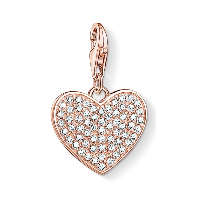 Thomas Sabo 2018 GCC Rose Gold Stone Set Heart Charm 1569-416-14