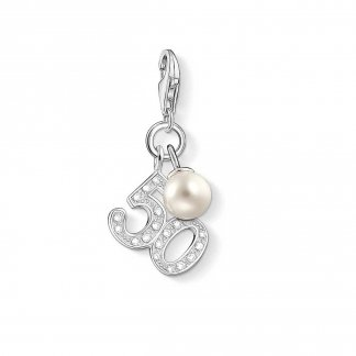 50th Birthday Charm with Freshwater Pearl