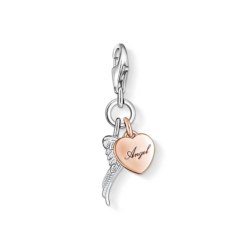 thomas sabo angel wing and rose gold heart charm. Black Bedroom Furniture Sets. Home Design Ideas