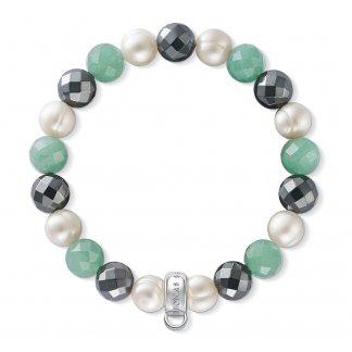 Aventurine, Haematite & Freshwater Pearl Charm Bracelet X0197-665-7