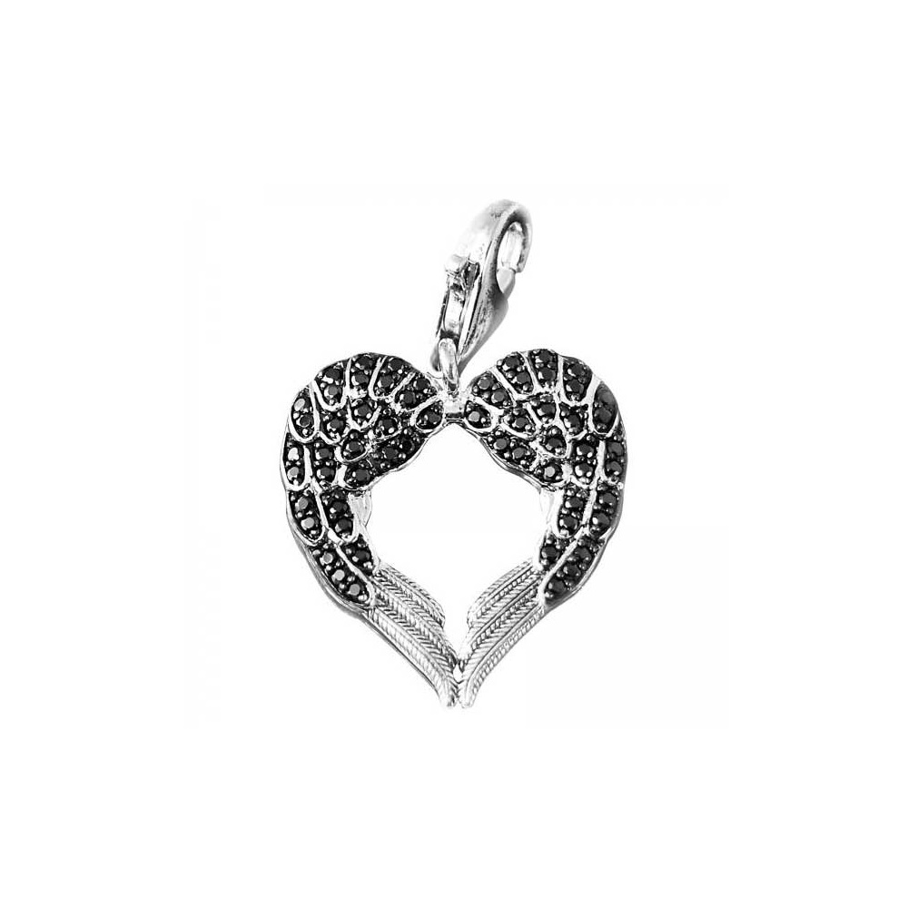 preciosa over overstock jewelry wings orders product double pendant heart watches angel sterling la on shipping free shaped silver