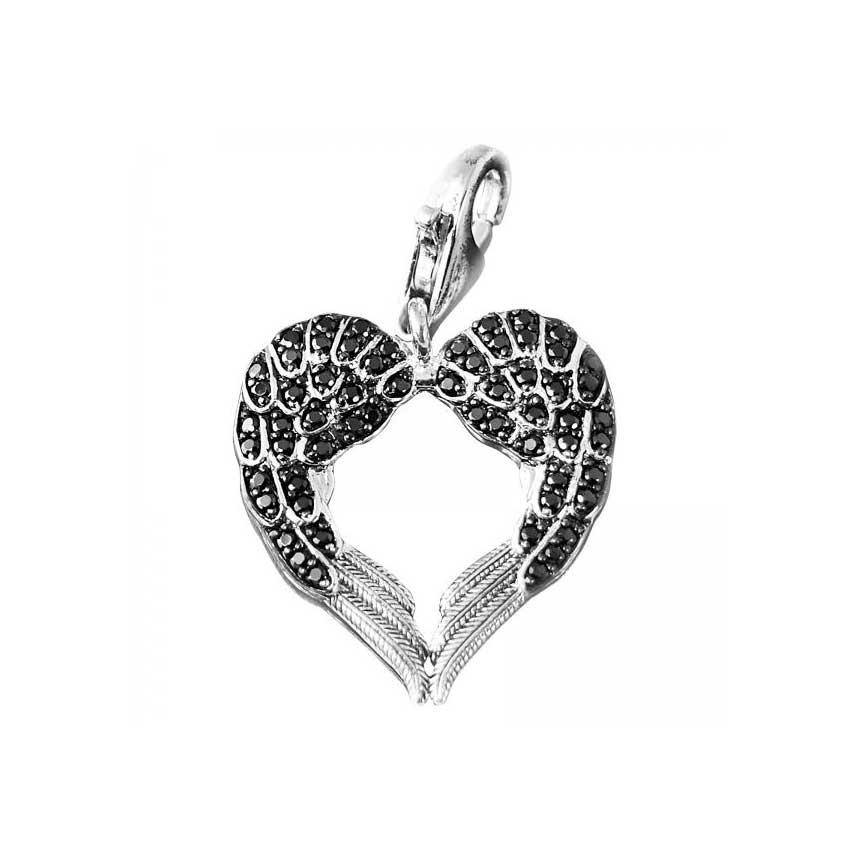 Thomas Sabo Black Cz Angel Wings Pendant Jewellery From