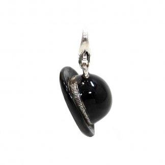 Black Enamel Bowler Hat Charm 0629-007-11