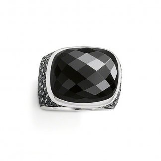 Black Onyx Cushion Ring Size O TR1893-51-11-54