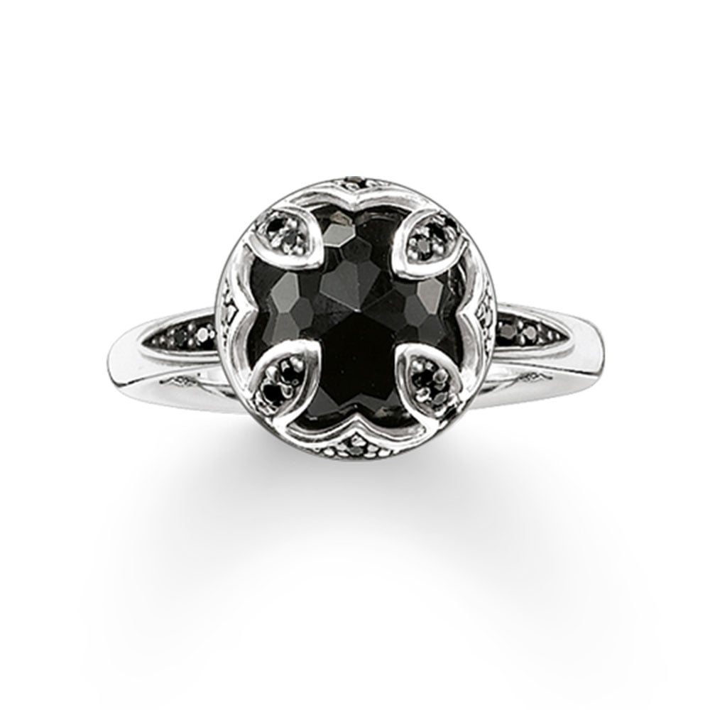 Thomas Sabo Black Onyx Lotus Flower Ring