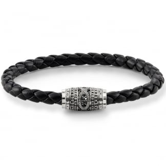 Black Plaited Stone Set Clasp 21cm Bracelet UB0005-820-11