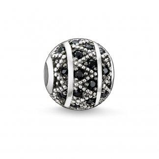 Black & Silver Zigzag Karma Bead K0022-051-11