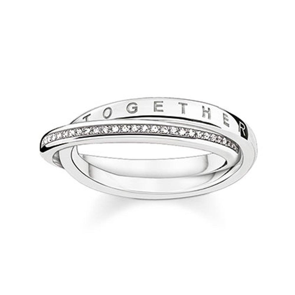 6216709d6cb2ec Thomas Sabo Glam and Soul Interlocked Diamond Set Ring Size O Product Code:  D_TR0018-725-14-54