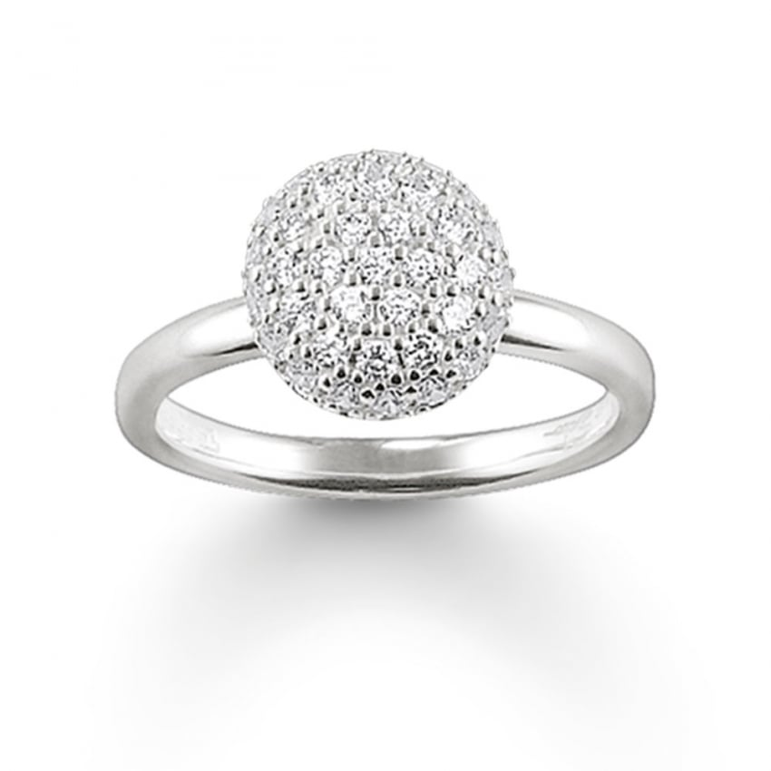 Thomas Sabo Glam and Soul Pave Set Cubic Zirconia Dome Ring TR1972-051-14