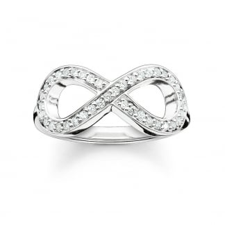 Glam and Soul Silver Stone Set Infinity Ring