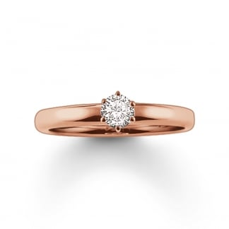 Glam and Soul Six Claw Rose Gold Solitaire Ring TR1982-416-14