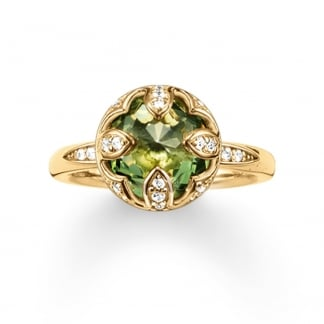Yellow Gold Green Purity of Lotus Ring