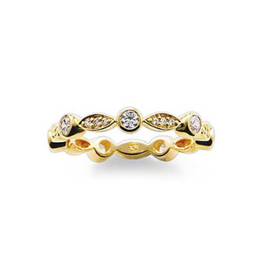 Thomas Sabo Gold Stone Set Ribbon Ring TR1985-414-14