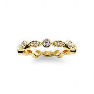 Gold Stone Set Ribbon Ring