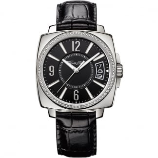 Ladies Glam And Soul Black Leather Watch WA0089-218-203-40