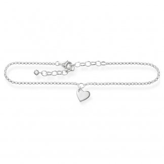 Ladies Heart Sterling Silver Anklet AK0003-051-14-L27V