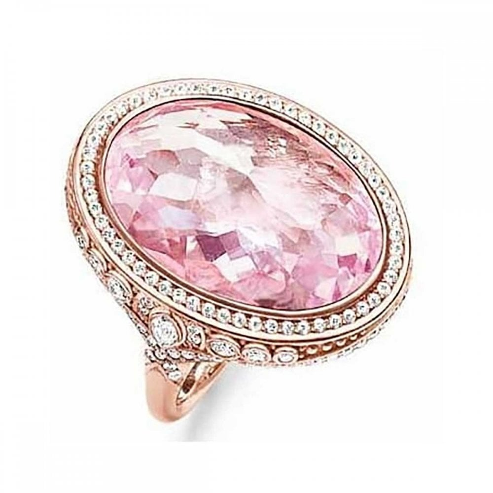 Thomas Sabo Large Rose Gold Pink Oval Stone Ring Size 54 - Jewellery ...