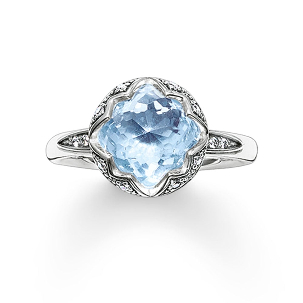 Thomas Sabo Light Blue Lotus Flower Ring
