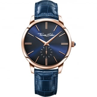 Men's Blue Leather Rebel At Heart Watch