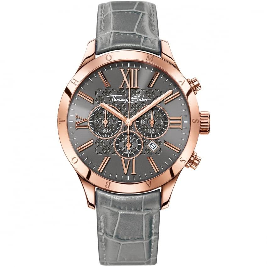Thomas Sabo Men's Rebel At Heart Grey Leather Chronograph Watch WA0227-274-210-43