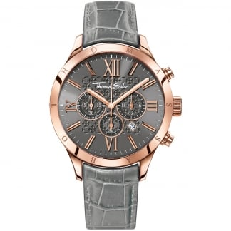 Men's Rebel At Heart Grey Leather Chronograph Watch WA0227-274-210-43