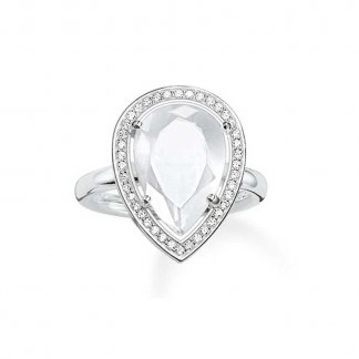 Pear Shaped Milky Quartz Ring