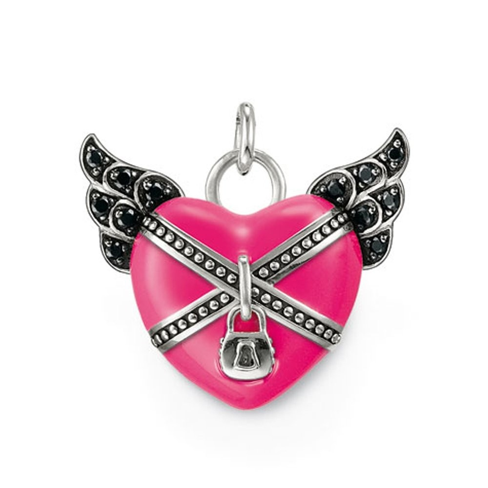 Thomas sabo pink enamel winged heart pendant jewellery from pink enamel winged heart pendant aloadofball