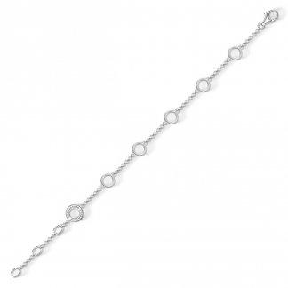 Plain Silver Charm Carrier Bracelet X0202-001-12-L19,5V