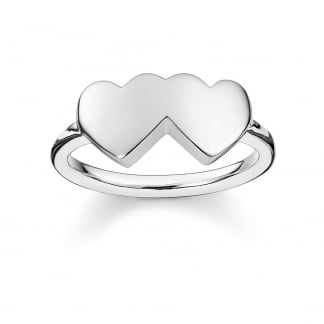 Plain Silver Glam and Soul Double Heart Ring TR2081-001-12