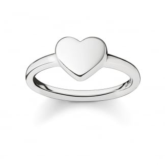 Plain Silver Glam and Soul Heart Ring TR2080-001-12