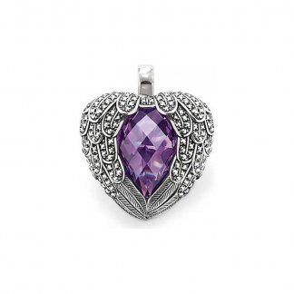 Purple Feather Heart Marcasite Pendant PE371-021-13