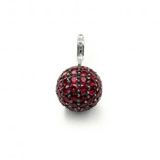 Red CZ Pave Ball Pendant T0254-012-10