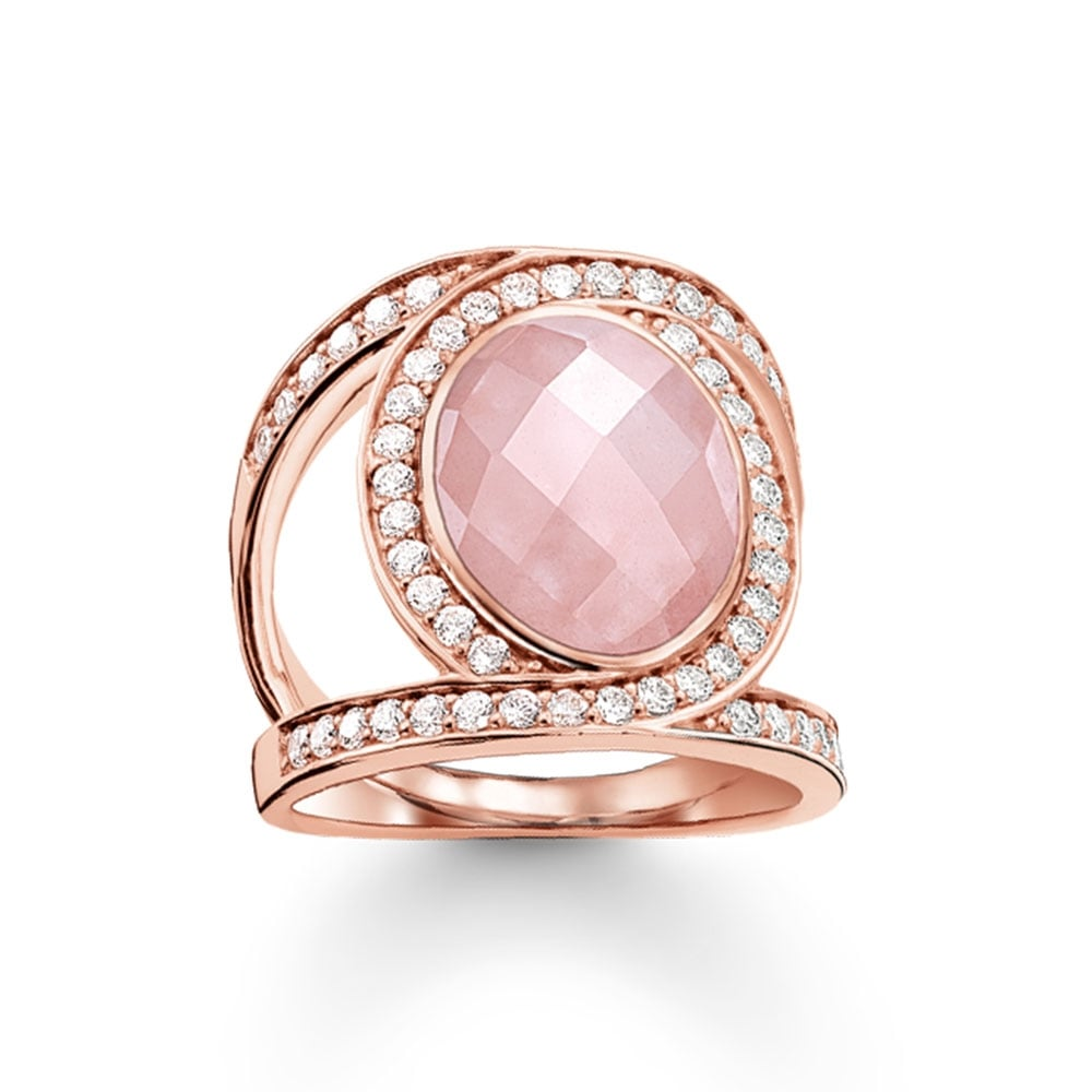 Thomas Sabo Rose Gold and Rose Quartz Crossover Ring - Jewellery ...