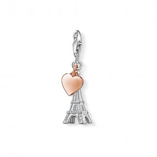 Rose Gold Heart Eiffel Tower Charm